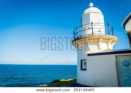 White Lighthouse Above The Sea In Port Macquarie, New South Wales, Australia