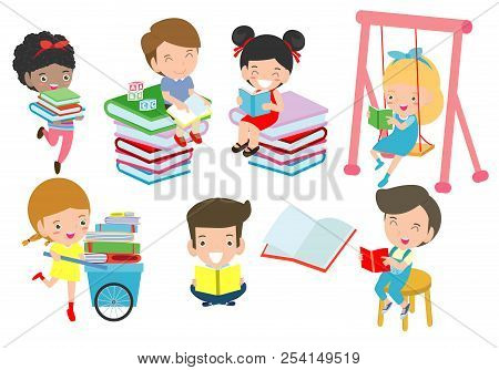 Cute Kids Reading Book,cute Children Reading Books, Happy Children While Reading Books, Vector Illus