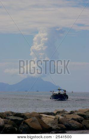 Boat With Volcanoe