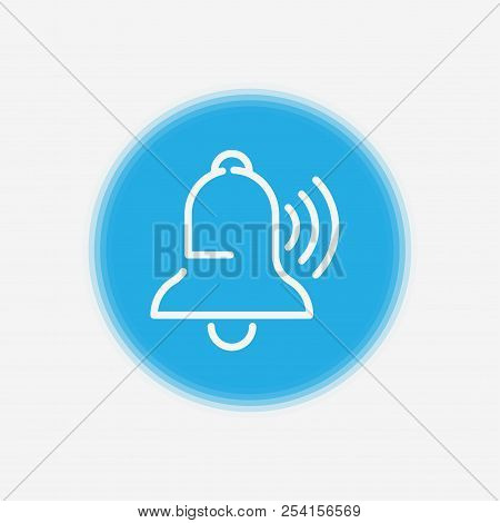 Ringing Bell Line Icon, Outline Vector Sign, Linear Style Pictogram Isolated On White. Notification