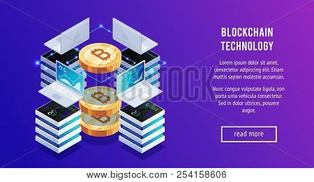 Earning Bitcoin. Laptops And Servers For Earning Bitcoin. 3d Bitcoin. Web Background. Vector Illustr