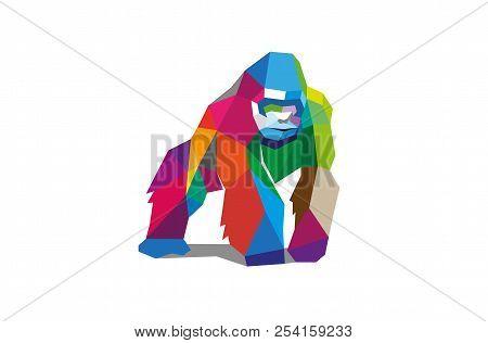 Colorful Polygonal Gorilla Silverback Logo Design Illustration