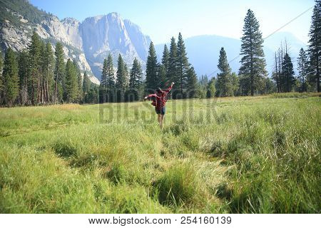Frolicking Through The Meadows Of Yosemite With A Flannel Shirt