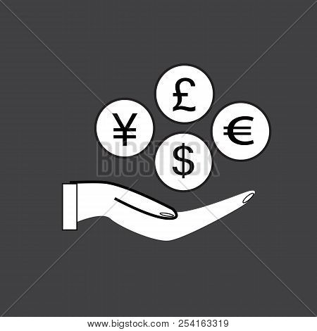 Money In Hand Icon With Shadow On Black Background. Flat Style. Money In Hand Icon For Your Web Site