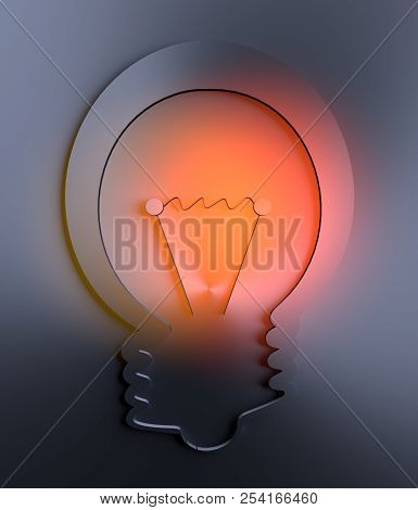 Abstract Bulb Icon. Illustration Of Brainwork, Idea Appearance. Lamp Icon With Orange Light Spot. 3d