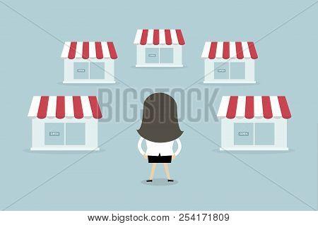 Businesswoman With Shop Franchise Concept. Business Concept. Flat Design