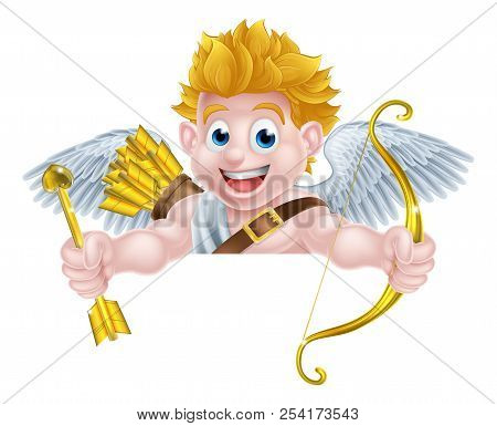 Cartoon Valentines Day Cupid Winged Angel Character Holding His Golden Bow And Heart Arrow And Peeki