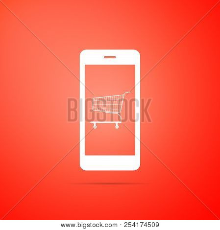 Online Shopping Concept. Shopping Cart On Screen Smartphone Icon Isolated On Orange Background. Conc