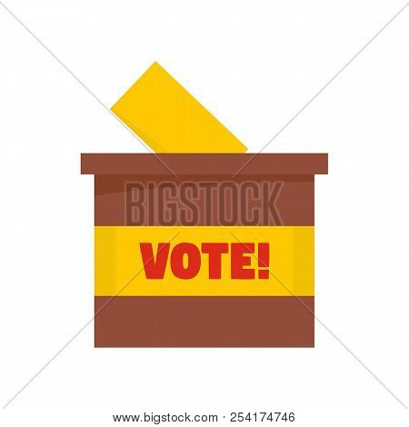 Wood Vote Box Icon. Flat Illustration Of Wood Vote Box Icon For Web Isolated On White