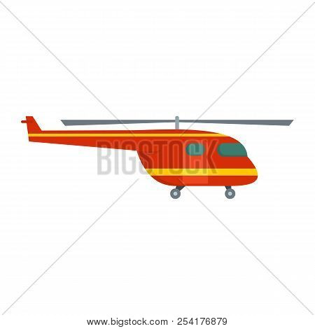 Rescue Helicopter Icon. Flat Illustration Of Rescue Helicopter Icon For Web Isolated On White