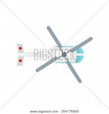 Top View Helicopter Icon. Flat Illustration Of Top View Helicopter Icon For Web Isolated On White