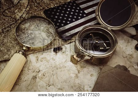 Old Maps With Marine Equipment Like Compass, Magnifier Or Hourglass And Blank Vintage Paper For Your