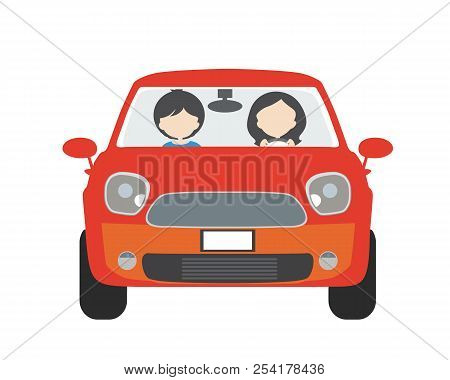 Two People, Man And Woman, Sitting In A Car And Driving On Vacation. Usable For Driving School Or Ta