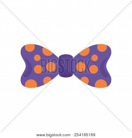 Bow Tie Orange Circle Icon. Flat Illustration Of Bow Tie Orange Circle Icon For Web Isolated On Whit
