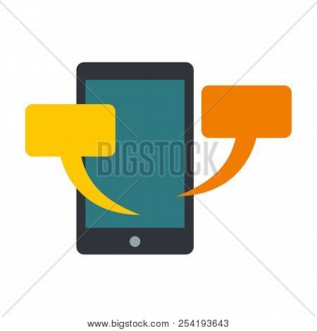 Smartphone Chat Icon. Flat Illustration Of Smartphone Chat Icon For Web Isolated On White