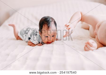 Elder Brother Blonde Boy Son Playing With Little Baby Sister
