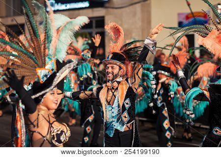 Santa Cruz De Tenerife, Spain- February 09, 2018: Women And Man Dancing Samba Music At Carnival Part