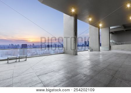 empty urban surface with modern city skyline in japan
