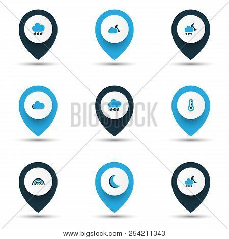Weather Icons Colored Set With Rainstorm, Snowy Raining, Cloud And Other Thermometer Elements. Isola