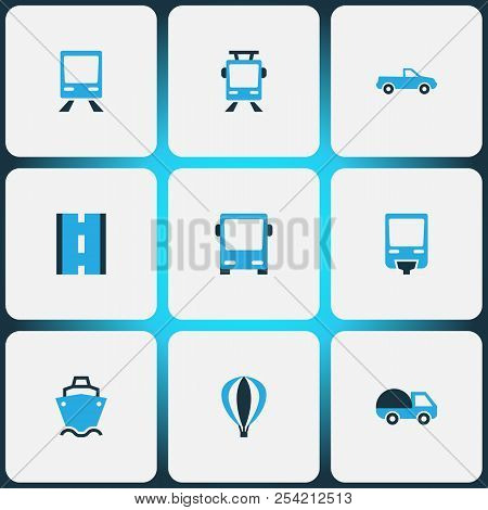 Shipment Icons Colored Set With Streetcar, Bus, Road And Other Aerostat Elements. Isolated Vector Il