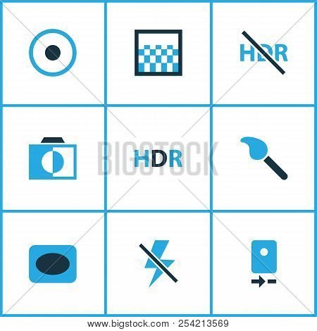 Image Icons Colored Set With Gradient, High Dynamic Range, Adjust And Other Colorless Elements. Isol