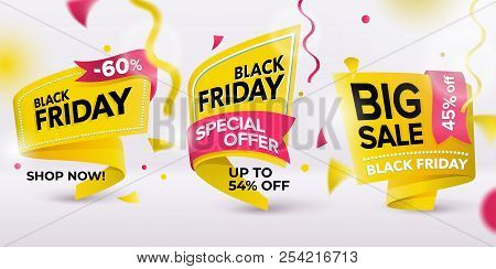 Black Friday Sale 2018. Set Of Yellow Colored Stickers And Banners. Geometric Shapes. Realistic Curv
