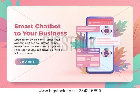 Chatbot And Future Marketing Concept. Chatbot Answers The Question Of The User. Dialog Box Of Smartp
