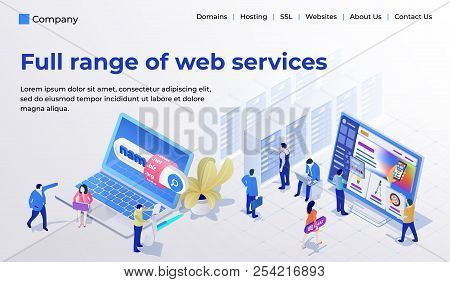 Web Page Design Template For Web Studio In The Modern 3d Isometric Style. Choosing And Buying A Doma