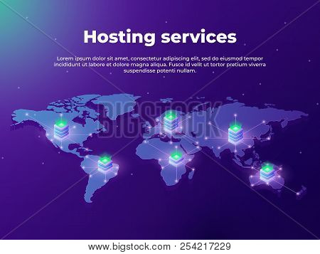 Computing Services Concept. Servers On The World Map. Concept Of Big Data Processing, Server Room Ra