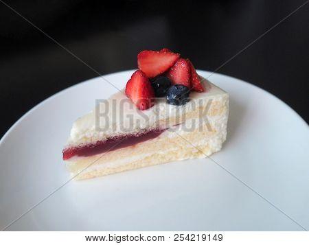 Strawberry Cake Dessert Bakery With Fresh Strawberry And Blueberry And Strawberry Jam On White Plate