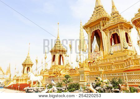 Bangkok, Thailand - November 04, 2017; Landscape Of Beautiful Gold View The Royal Crematorium For Hm
