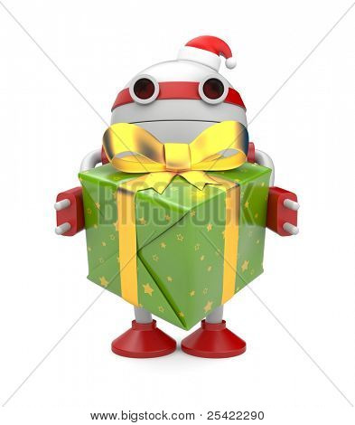Robot with gift box. Image contain clipping path