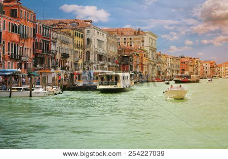 Venice, Italy, Jun 8, 2018: View Of Grand Canal With Vaporetto (ferry) And Boats In Venice, Italy