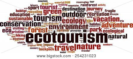 Ecotourism Word Cloud Concept. Vector Illustration On White