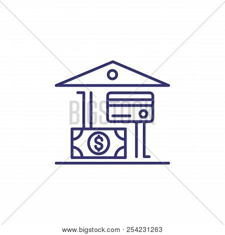 Bank Building With Dollar And Credit Card Line Icon. Bank Offers, Payment, Cash Withdrawal. Currency