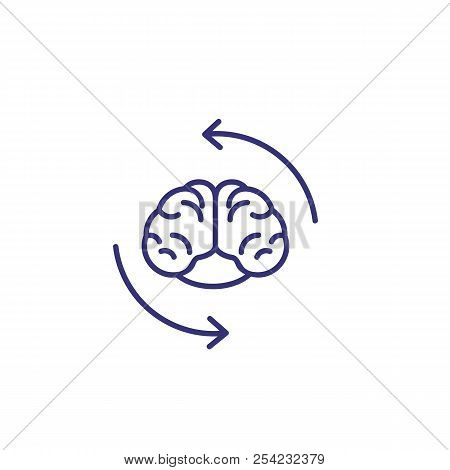 Creative Cycle Line Icon. Human Brain With Recycle Arrows. Brainwork Concept. Can Be Used For Topics