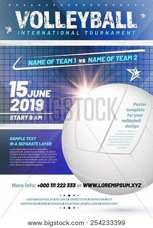 Template For Your Volleyball Tournament Poster Design With Sample Text In Separate Layer - Vector Il