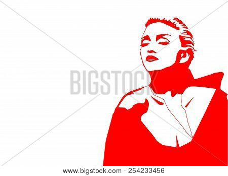 Aug, 2018: Famous Singer Madonna Vector Outline Portrait On A Black On White Background