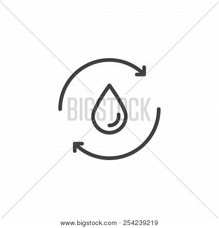 Recycle water outline icon. linear style sign for mobile concept and web design. water cycle simple line vector icon. Symbol, logo illustration. Pixel perfect vector graphics poster