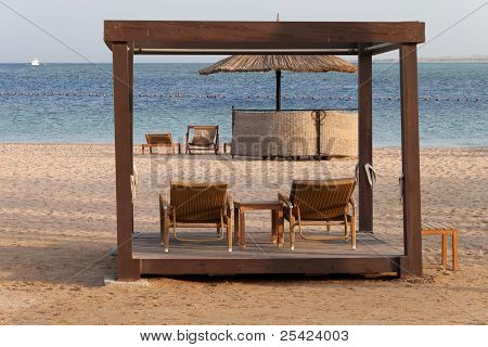 lounges, beach, sea