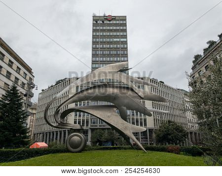Milan, Italy - March 18, 2018:  Cityscape With The Old Skyscraper In Piazza Diaz In Milan, Built By