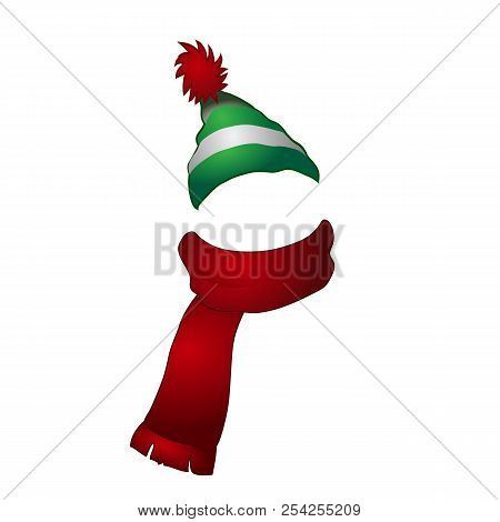 Set Of Cartoon Striped Winter Cap With Pompon And Scarf Nobody Isolated On White Background. Vector