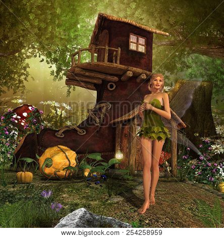 A Magical Fairy Home In A Giant Boot Hidden In The Woods, 3d Render