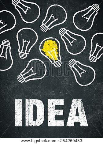 Banner Idea - Light Bulbs And Text On A Chalkboard