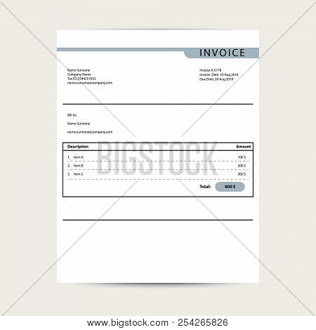 Minimal Invoice Template Vector. Bill Finance Document Sample Design.