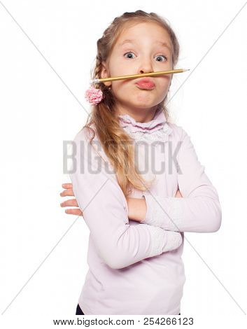 Fun girl isolated on white. School child elementary. Humour