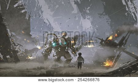 Scene Of The Boy Looking At The Damaged Robot Who Protected Him From The War, Digital Art Style, Ill
