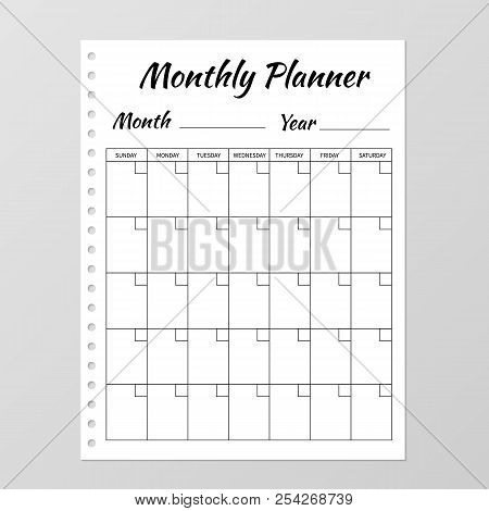 Monthly Planner Template. Blank White Notebook Page Isolated On Grey. Organizer Page. Paper Sheet. S