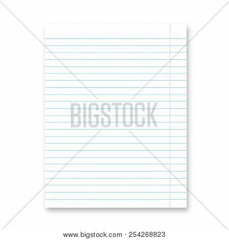 Lined Paper Sheet. Blank White Notebook Page With Shadow Isolated On  White. Stationery For Educatio