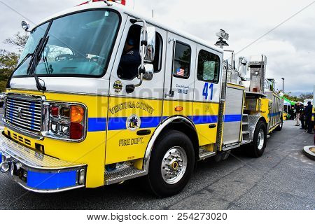 Simi Valley, Ca. 5/12/2018 - Fire Truck From The Ventura County Fire Dept.  Bright Yellow Painted Ho